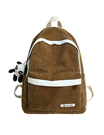 Fashion Brown Stitched Contrast Corduroy Backpack