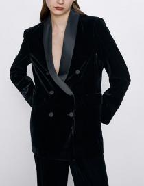 Fashion Black Velvet Panel Button Down Blazer