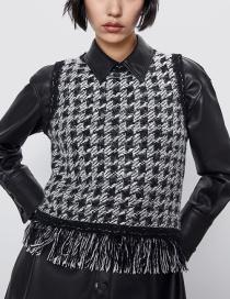 Fashion Black Fringed Tweed Vest