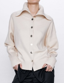 Fashion Beige Buttoned Knit Coat