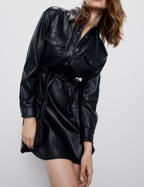 Fashion Black Faux Leather Belted Shirt Dress