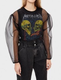 Fashion Black Two-piece Skull Print Organza Top