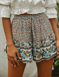 Fashion Color Drawstring Flower Print Shorts