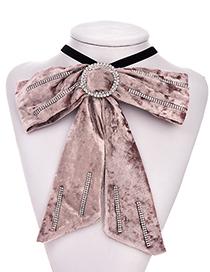 Fashion Coffee Color Alloy Flannel Hot Rhinestone Brooch Bow Tie
