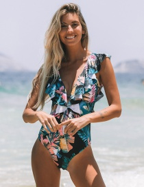 Fashion Palm Leaves On Black Women's Printed Frill One-piece Swimsuit