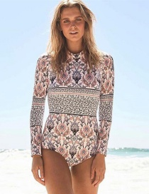Fashion White Print (back Zipper) Printed Open Back Zip Long Sleeve One Piece Swimsuit