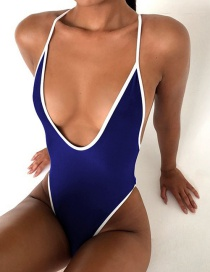Fashion Tibetan Blue White Edge Contrasting Deep V Strapless Backless One-piece Swimsuit