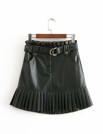Fashion Green Small Pleated Faux Leather Belt Skirt
