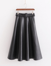 Fashion Black Faux Leather Skirt With Belt