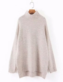 Fashion Beige High-neck Split Asymmetric Knitted Sweater