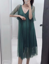 Fashion Green Tulle Pleated V-neck Dress