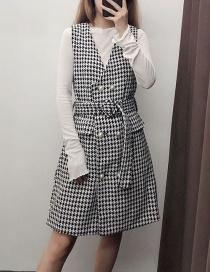 Fashion Black And White Houndstooth Check Strap Dress