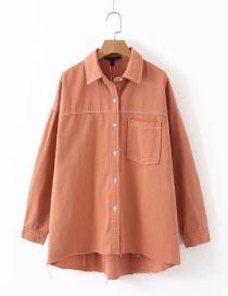 Fashion Brick Red Car Line Denim Single Breasted Shirt