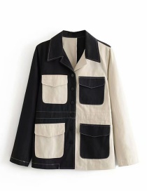 Fashion Black + White Contrast-stitched Lapel Single-breasted Jacket