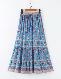 Fashion Blue Water-cotton Lace-up Skirt