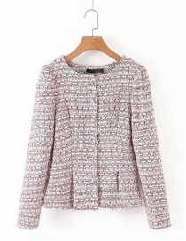 Fashion Color Tweed Woolen Round Neck Small Suit