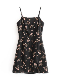Fashion Black Printed Split Camisole Dress