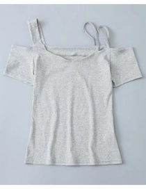 Fashion Light Gray Off-the-shoulder T-shirt