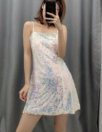Fashion White Sequined Panel Halter Dress