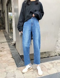 Fashion Blue Raw Straight Washed Cropped Jeans