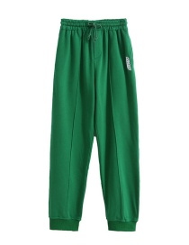 Fashion Green Zip Embroidered Trousers At Back Foot