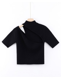 Fashion Black Open Chest Knit T-shirt