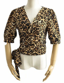 Fashion Leopard Print Printed Lace-up Around V-neck Shirt