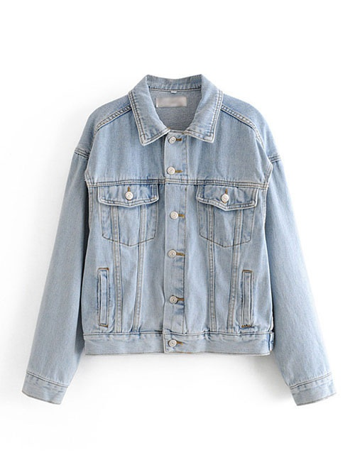 Fashion Blue Washed Denim Jacket With Cut Cuffs