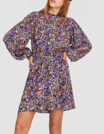 Fashion Purple Lantern Sleeve Print Dress