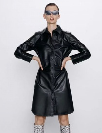 Fashion Black Pu Leather Single-breasted Long Shirt