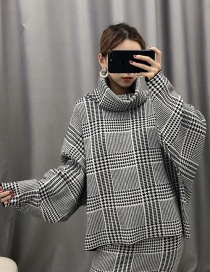 Fashion Plaid Gray Jacquard Turtleneck Knitted Sweater