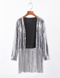 Fashion Silver Sequined Fringed Jacket