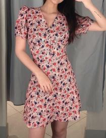 Fashion Pink Flower Print Dress