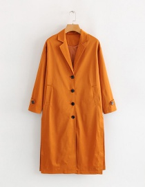 Fashion Orange Suit Collar Split Trench Coat