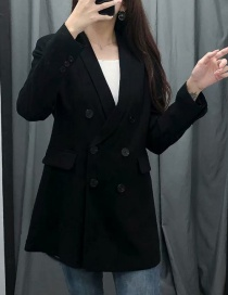 Fashion Black Dress Collar Double-breasted Suit