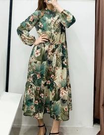 Fashion Green Chiffon Floral Print Single Breasted Dress