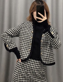 Fashion Black Tweed Houndstooth Coat