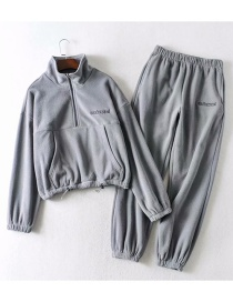 Fashion Gray Hooded Sweater + Straight Pants Suit