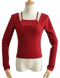 Fashion Wine Red Fake Two Knitted Suspender T-shirts