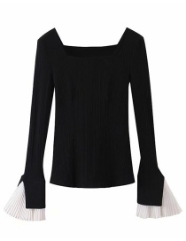 Fashion Black Square-neck Ruched Flared Sleeves Patchwork Sweater