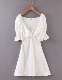 Fashion White Satin V-neck Pleated Dress