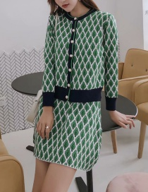 Fashion Green Foliage Knitted Suit