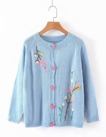 Fashion Blue Embroidered Floret V-neck Single-breasted Cardigan Sweater