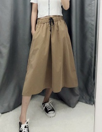 Fashion Khaki Lace-up Skirt