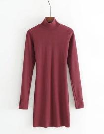 Fashion Wine Red Long Sleeveless Fingerless Half Turtleneck Dress