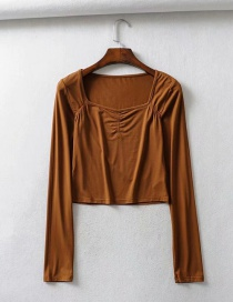 Fashion Coffee Color Elastic Square Neck Pleated Long Sleeve T-shirt