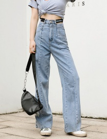 Fashion Gray Elastic Waist Open Letter Washed Frayed Jeans