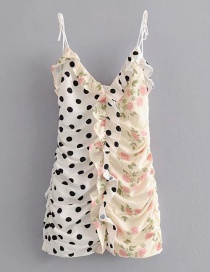 Fashion White Fungus Print Dot Print Strap Dress