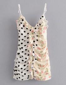 Fashion White Fungus Print Dot Print Strap Dress