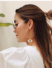 Fashion Golden Alloy Drip Glasses Circle Ear Studs
